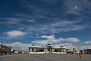 Mongolia. Ulaanbaatar. Sukhe bator square, the city center of  Ulaanbaatar,  in front of the parliament building that houses a grand statue of Genghis Khan. mongolia