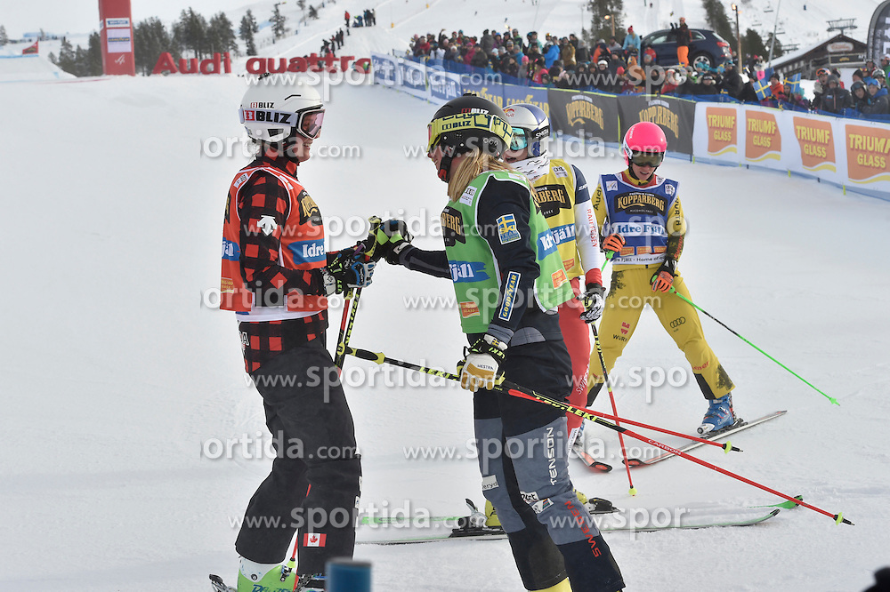 12.02.2017, Idre Fj&auml;ll, SWE, FIS Weltcup Ski Cross, Idre Fj&auml;ll, im Bild Marielle Thompson gratuliert Sandra N&auml;slund // during the FIS Ski Cross World Cup in Idre Fj&auml;ll, Sweden on 2017/02/12. EXPA Pictures &copy; 2017, PhotoCredit: EXPA/ Nisse Schmidt<br /> <br /> *****ATTENTION - OUT of SWE*****