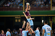 SYDNEY, NSW - MARCH 09: Reds player Harry Hockings (5) and Waratahs player Ned Hanigan (6) go up for the ball at round 4 of Super Rugby between NSW Waratahs and Queensland Reds on March 09, 2019 at The Sydney Cricket Ground, NSW. (Photo by Speed Media/Icon Sportswire)