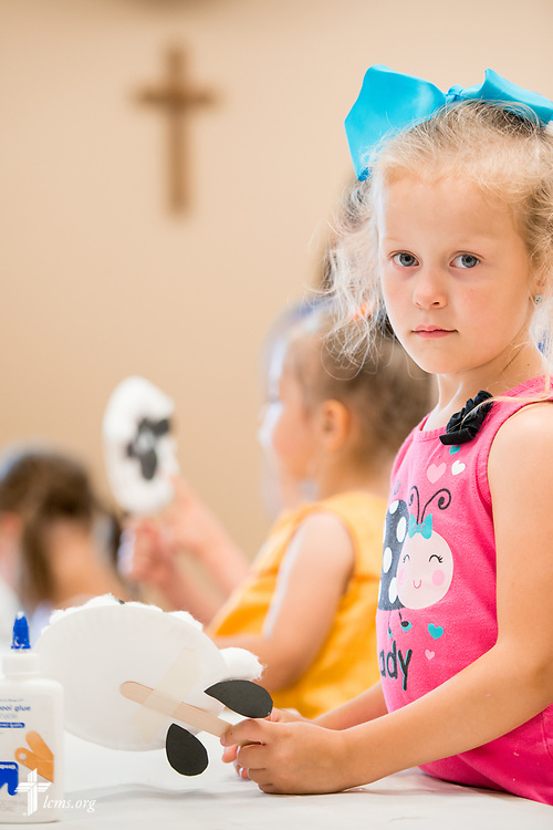 A young camper pauses for a portrait during Camp Courage VBS at Zion Lutheran Church on Thursday, July 13, 2017, in Ottawa, Ill.  LCMS Communications/Erik M. Lunsford