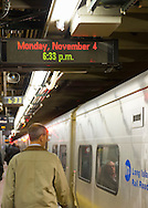 Manhattan, New York, U.S. 4th November 2013. The Nassau County Democratic slate of Suozzi, Gillen, and Weitzman are leaving Penn Station on the 6:35 PM LIRR train to Mineola for the next stop during their 36 straight hours of barnstorming across Nassau County, leading up to the November 5 general election.