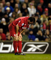 Photo: Jed Wee.<br />Liverpool v Charlton Athletic. The Barclays Premiership. 04/03/2006.<br />Liverpool's Robbie Fowler shows his dejection as a chance goes begging.