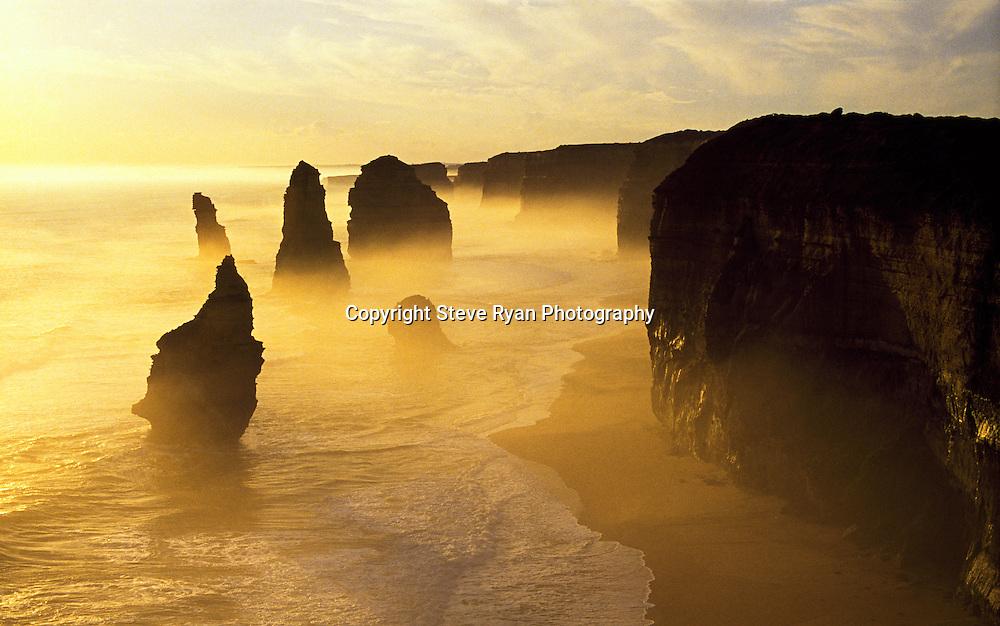 Apostles Misty Sunset<br /> Shot on velvia Film ISO 50