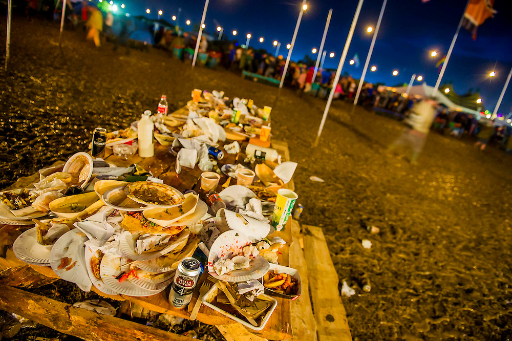 Nigntlife, dancing in Shangrila and the inevitable waste in the aftermath. The 2014 Glastonbury Festival, Worthy Farm, Glastonbury. 27 June 2013.  Guy Bell, 07771 786236, guy@gbphotos.com