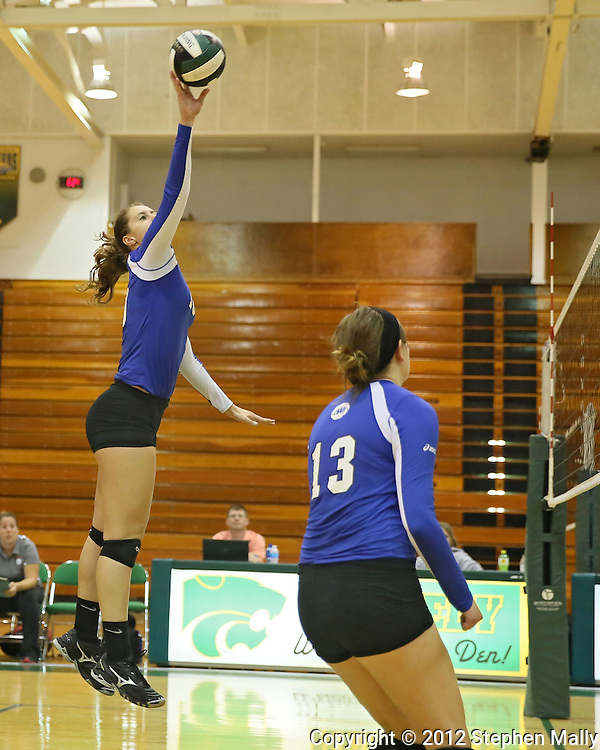 Washington's Danielle Franklin (10) tips the ball as Kellie Walters (13) looks on during the MVC Volleyball Tournament Championship game between the Hempstead Mustangs and the Washington Warriors at Kennedy High School in Cedar Rapids on Saturday October 13, 2012. Hempstead defeated Washington 25-21 25-19.
