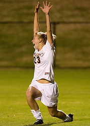 Virginia Cavaliers midfielder/defender Nikki Krzysik (23) reacts after scoring the first goal of the game.  The Virginia Cavaliers defeated the Loyola (MD) Greyhounds 4-1 in the first round of the NCAA Women's Soccer tournament held at Klockner Stadium in Charlottesville, VA on November 16, 2007.