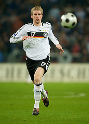 MONCHENGLADBACH, GERMANY - Wednesday, October 15, 2008: Germany's Per Mertesacker in action against Wales during the 2010 FIFA World Cup South Africa Qualifying Group 4 match at the Borussia-Park Stadium. (Photo by David Rawcliffe/Propaganda)