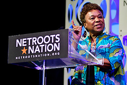 Rep. Barbara Lee (D-CA) speaks on stage about the change of the face of power in the United States after a history making number of diverse members were sworn into Congress the past elections, during a keynote discussion of the Netroots Nation progressive grassroots convention in Philadelphia, PA, on July 13, 2019.