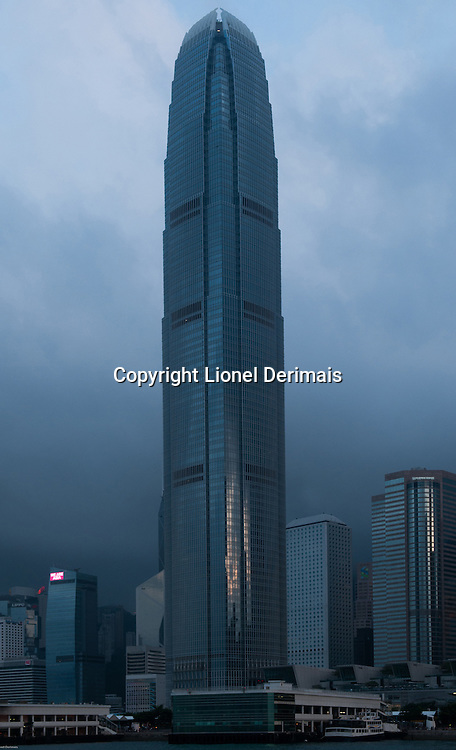 IFC tower - managed by Henderson Land Development -overlooking Victoria harbour in Hong Kong.
