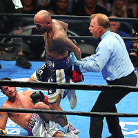 Luis Collazo steps over Bryant Perrella during their Premier Boxing Champions fight on Saturday, August 4, 2018 at the Nassau Veterans Memorial Coliseum in Uniondale, New York.  (Alex Menendez via AP)