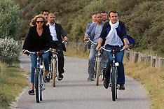 Le Touquet: French President Emmanuel Macron and Brigitte Macron take a bicycle ride - 10 June 2017