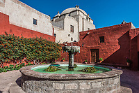 fountain inside Santa Catalina monastery in the peruvian Andes at Arequipa Peru