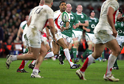 Delon Armitage releases the ball during the RBS Six Nations match between Ireland v England, Croke Park, Dublin, Saturday 28th February 2009.
