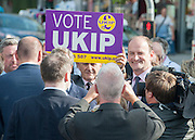 © Licensed to London News Pictures. 29/08/2014. Clacton-on-Sea, UK Douglas Carswell (right)  and Nigel Farage, Leader of the UK Independence Party, UKIP, meet local people on a walk about in Clacton-on-Sea today 29th August 2014. Tory Douglas Carswell  defected to UKIP and quit as MP for Clacton, saying he will contest the subsequent by-election for Nigel Farage's party.. Photo credit : Stephen Simpson/LNP