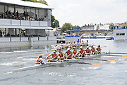 Henley, Great Britain.  Henley Royal Regatta. M8+, Amsterdamsche Studenten Roeivereeniging Nereus, NED [Berks], row towards the Finish, as they lead University of Virginia, USA [Bucks], in the semi-final, of the Temple Challenge Cup. River Thames Henley Reach.  Royal Regatta. River Thames Henley Reach.  Saturday  02/07/2011  [Mandatory Credit  Intersport Images] . HRR