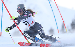 28.01.2018, Lenzerheide, SUI, FIS Weltcup Ski Alpin, Lenzerheide, Slalom, Damen, 1. Lauf, im Bild Resi Stiegler (USA) // Resi Stiegler of the USA in action during her 1st run of ladie's Slalom of FIS ski alpine world cup in Lenzerheide, Austria on 2018/01/28. EXPA Pictures © 2018, PhotoCredit: EXPA/ Sammy Minkoff<br /> <br /> *****ATTENTION - OUT of GER*****