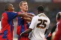 Photo: Alex Pelaez.<br /> Crystal Palace v Luton Town. Coca Cola Championship. 24/02/2007.<br /> Scowcroft of Palace pushes Barnett of Luton