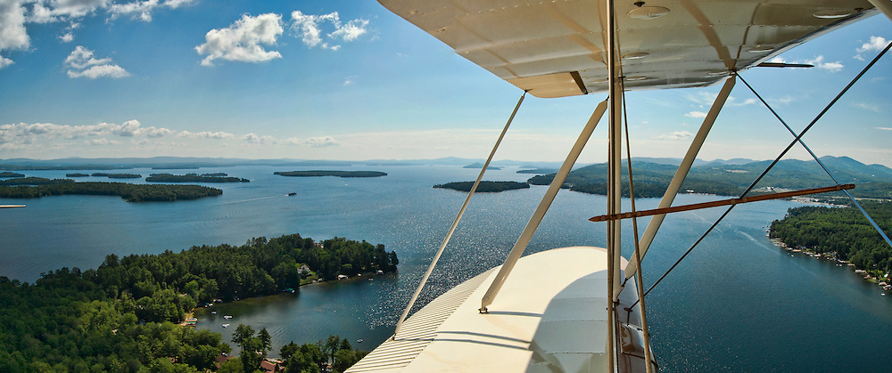 A composite panoramic image of Lake Winnipesaukee from Phil DiVirgilio's open cockpit biplane Wednesday morning.  For more information www.lakesbiplane.com  (Karen Bobotas/for the Laconia Daily Sun)