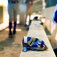 BRADENTON, FL -- May 21, 2012 --  Batting gloves sit on the bench during an inter-squad game at IMG Baseball Academy in Bradenton, Fla., on Monday, May 21, 2012.  (PHOTO/CHIP LITHERLAND)