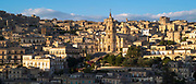 Ancient hill city of Modica Alta and Cathedral of San Giorgio famous for Baroque architecture from Modica Bassa, Sicily