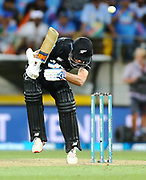Black Caps Mitchell Santner ducks a bouncer during the Fifth ODI of the 2019 ANZ International ODI Series. Blackcaps v India at Westpac Stadium, Wellington, Sunday 3rd February 2019. © Copyright Photo: Grant Down / www.photosport.nz