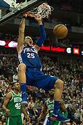 Philadelphia 76ers Ben Simmons (25) scores and celebrates during the NBA London Game match between Philadelphia 76ers and Boston Celtics at the O2 Arena, London, United Kingdom on 11 January 2018. Photo by Martin Cole.