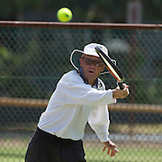 Frank Thomas, Australia, in action in the 85 Mens Singles during the 2009 ITF Super-Seniors World Team and Individual Championships at Perth, Western Australia, between 2-15th November, 2009.