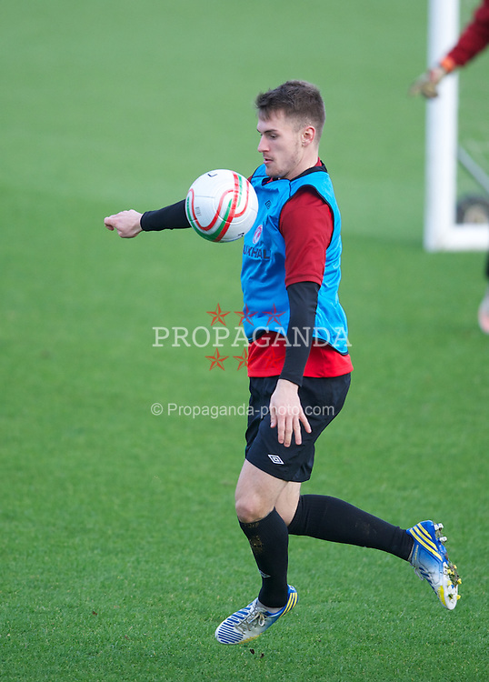 CARDIFF, WALES - Monday, February 4, 2013: Wales' Aaron Ramsey during a training session at the Vale of Glamorgan Hotel ahead of the International Friendly against Austria. (Pic by David Rawcliffe/Propaganda)