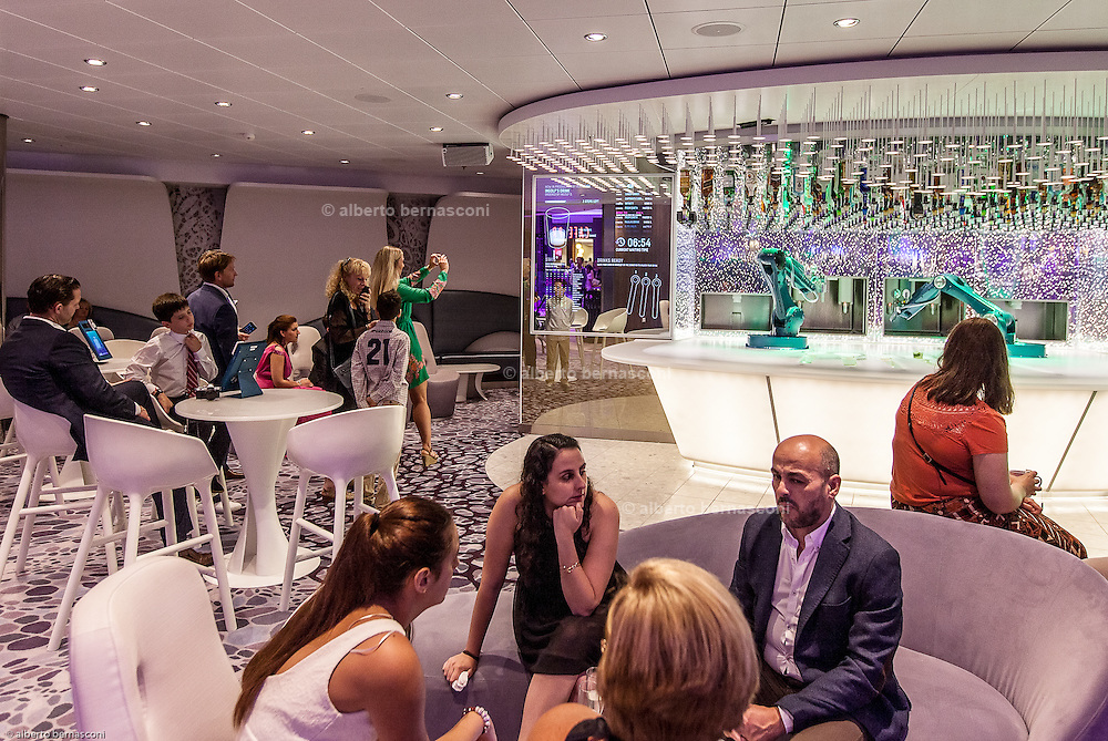 Royal Caribbean, Harmony of the Seas, the Bionic Bar, a technology-forward venue complete with two robotic bartenders that shake, muddle and mix a wide variety of drinks made just to order.