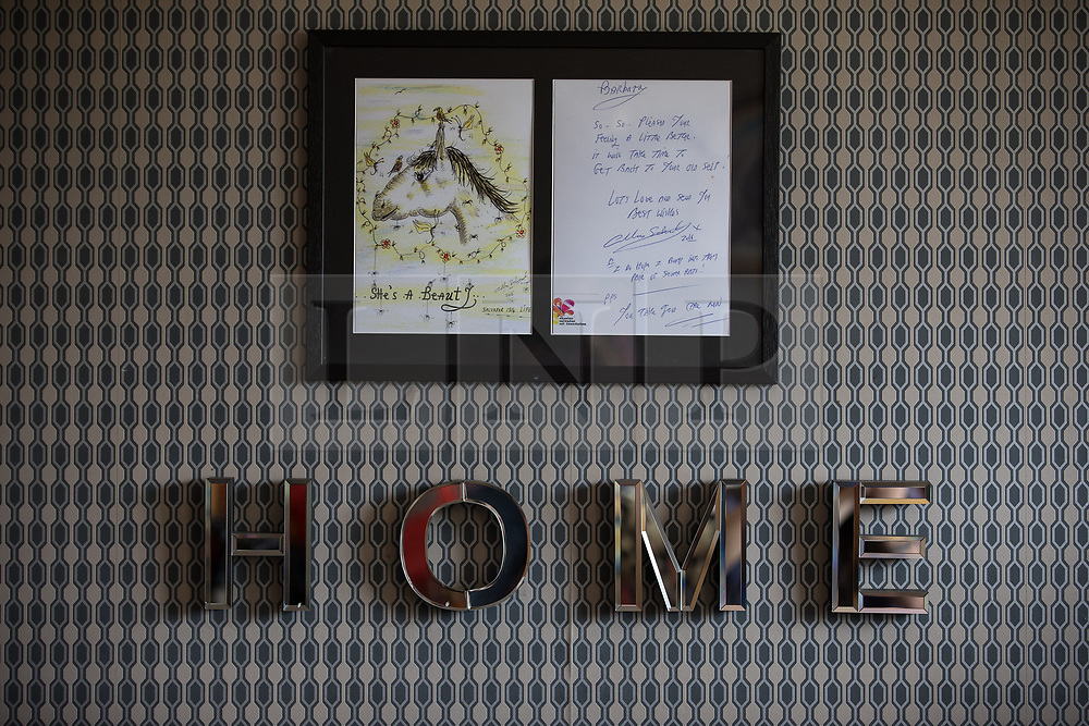 © Licensed to London News Pictures . 06/07/2017 . Manchester , UK . Framed copy of hand-drawn card from Charles Salvador to Barbara Dransfield on the wall of Barbara's living room . Artwork by convicted criminal  Charles Salvador (previously Charles Bronson) has been sold on behalf of Salvador to raise a £1,000 to support Barbara and Len Dransfield . Barbara , who has become friendly with Salvador , was brought the money and a card by Salvador's fiance , Paula Wiliamson . Barbara Dransfield was brutally assaulted by masked robbers as she sat at home in her wheelchair . She suffered extensive injuries to her face and body . Photo credit : Joel Goodman/LNP