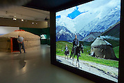 """Linz, Austria. Schlossmuseum (Castle Museum).<br /> Marco Polo exposition """"Von Venedig nach China (From Venice to China)"""".<br /> Mongol yurt (ger)."""