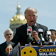 A fiery Joe Biden called on corporate giant Wal-Mart to own up to it's responsibility to it's employees concerning health care and wages  during a press conference in Des Moines, Iowa, in August of 2006.  Senator Biden, who ran for president in 2007-2008, is considered one of the front-runners as a possible Barrack Obama vice presidential pick.