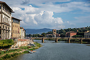 Ponte alla Carraia medieval Bridge on Arno river, Florence, Italy built in 1218