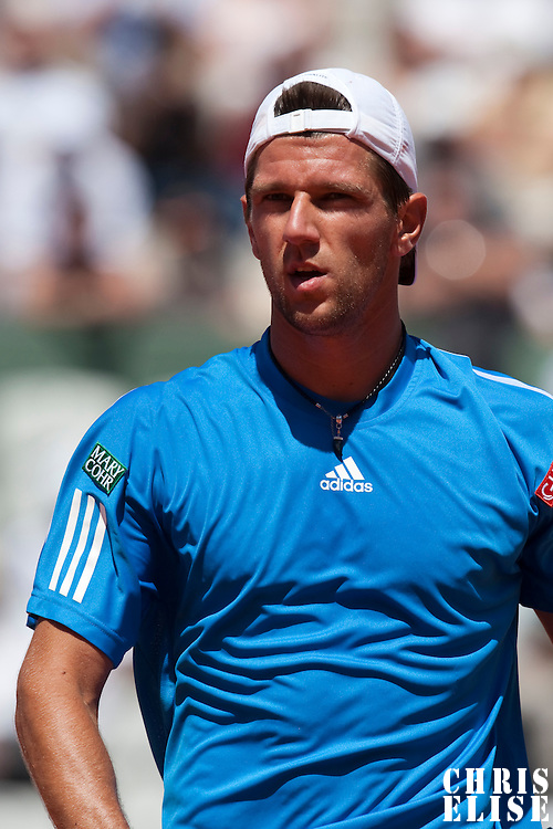 30 May 2009: Jurgen Melzer of Austria is seen during the Men's Singles third round match on day seven of the French Open at Roland Garros in Paris, France.