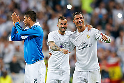 Jese and Cristiano Ronaldo of Real Madrid celebrate after Real Madrid win 1-0 to progress for the Champions League Final - Mandatory byline: Rogan Thomson/JMP - 04/05/2016 - FOOTBALL - Santiago Bernabeu Stadium - Madrid, Spain - Real Madrid v Manchester City - UEFA Champions League Semi Finals: Second Leg.