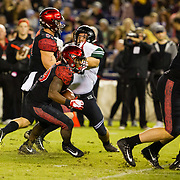 24 November 2018: San Diego State Aztecs running back Juwan Washington (29) rushes the ball for a two yard touchdown to give the Aztecs a 14-3 lead in the first quarter. The Aztecs closed out the season with a 31-30 overtime loss to Hawaii at SDCCU Stadium.