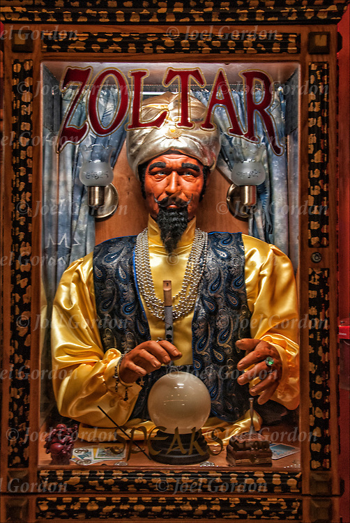 Zoltar, the classic animatronic fortune teller, coin operated machine found in arcades and in Atlantic City, NJ.