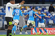 Arkadiusz Milik of Napoli celebrates after scoring 2-0 goal with Giovanni Di Lorenzo during the UEFA Champions League, Group E football match between SSC Napoli and KRC Genk on December 10, 2019 at Stadio San Paolo in Naples, Italy - Photo Federico Proietti / ProSportsImages / DPPI