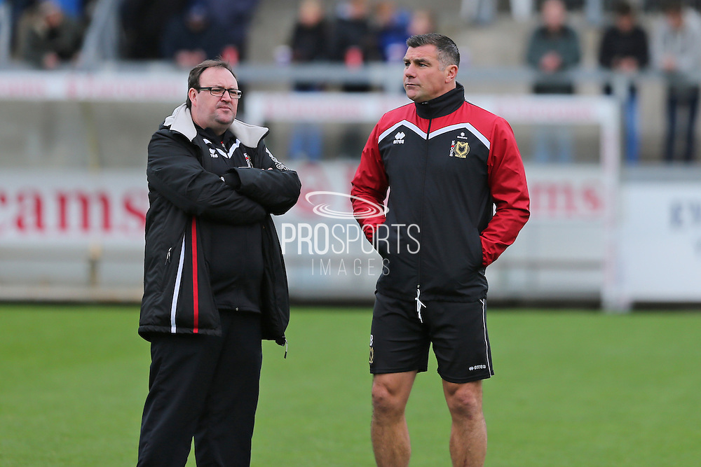 MK Dons head coach Richie Barker (right) during the EFL Sky Bet League 1 match between Bristol Rovers and Milton Keynes Dons at the Memorial Stadium, Bristol, England on 19 November 2016. Photo by Gary Learmonth.