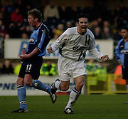 Photo Peter Spurrier.22/02/2003.Sport - Nationwide Football League Div 2.Wycombe Wanders v Wigan Athletic.Andy Liddell, taking and celebrating a 88 minute penalty. to make the score 2 - 0
