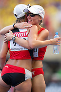 (L) Laura Polli and (R) Marie Polli from Switzerland on the finish women's 20 kilometres Race Walk final during the 14th IAAF World Athletics Championships at the Luzhniki stadium in Moscow on August 13, 2013.<br /> <br /> Russian Federation, Moscow, August 13, 2013<br /> <br /> Picture also available in RAW (NEF) or TIFF format on special request.<br /> <br /> For editorial use only. Any commercial or promotional use requires permission.<br /> <br /> Mandatory credit:<br /> Photo by © Adam Nurkiewicz / Mediasport