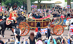 HRH Prince William and Catherine Middleton tie the knot at Westminster Abbey returning to Buckingham Palace in open carriage. London, UK. 29/04/2011 <br />BYLINE MUST READ : GOTCHAIMAGES.COM<br /><br />Copyright by © Gotcha Images Ltd. All rights reserved.<br />Usage of this image is conditional upon the acceptance <br />of Gotcha Images Ltd, terms and conditions available at<br />www.gotchaimages.com
