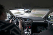 Audi Q7 showing its power, during a test drive in Germany.