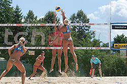 Andreja Vodeb of Slovenia vs Melody Benhamou of France at A1 Beach Volleyball Grand Slam presented by ERGO tournament of Swatch FIVB World Tour 2012, on July 17, 2012 in Klagenfurt, Austria. (Photo by Matic Klansek Velej / Sportida)
