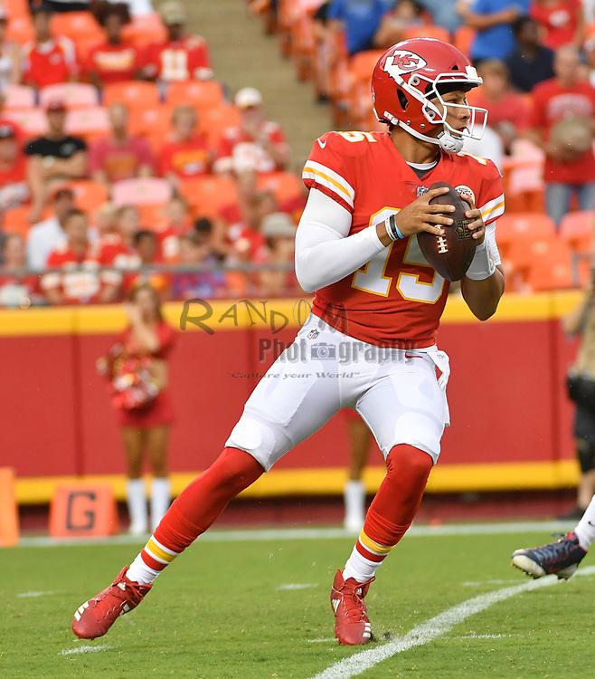 Aug 9, 2018; Kansas City, MO, USA; Kansas City Chiefs quarterback Patrick Mahomes (15) drops back to pass during the first half against the Houston Texans at Arrowhead Stadium. Mandatory Credit: Denny Medley-USA TODAY Sports