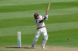 Somerset's Peter Trego cuts the ball off the bowling of Durham's Graham Onions.  - Photo mandatory by-line: Harry Trump/JMP - Mobile: 07966 386802 - 14/04/15 - SPORT - CRICKET - LVCC County Championship - Day 3 - Somerset v Durham - The County Ground, Taunton, England.