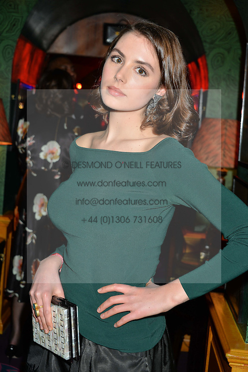 Actress GENEVIEVE GAUNT at an exclusive performance by Mark Ronson at Annabel's, Berkeley Square, London on 2nd March 2016.