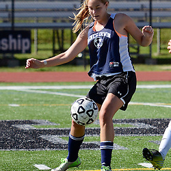 Staff photos by Tom Kelly IV<br /> Agnes Irwin's Hannah Keating (6) controls the ball during the Agnes Irwin School vs Strath Haven girls soccer scrimmage in Nether Providence Township, Thursday August 28, 2014.