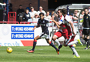 Dundee's Faissal El Bakhtaoui races past Rangers' Lee Wallace and Danny Wilson - Dundee v Rangers, Ladbrokes Scottish Premiership at Dens Park<br /> <br />  - © David Young - www.davidyoungphoto.co.uk - email: davidyoungphoto@gmail.com