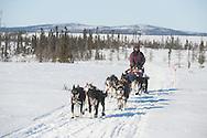 Robert Bundtzen arrives at the Iditarod checkpoint during the 2011 Iditarod.